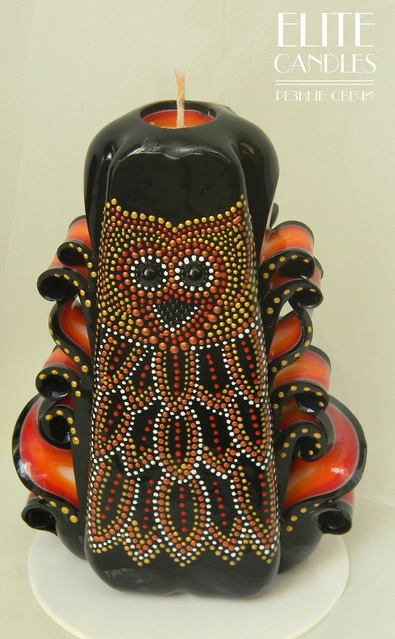 Свічка з точковою розписом по парафіну акриловими фарбами від ELITE CANDLES візерунок сова