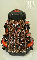 Свічка з точковою розписом по парафіну акриловими фарбами від ELITE CANDLES візерунок сова, фото 1