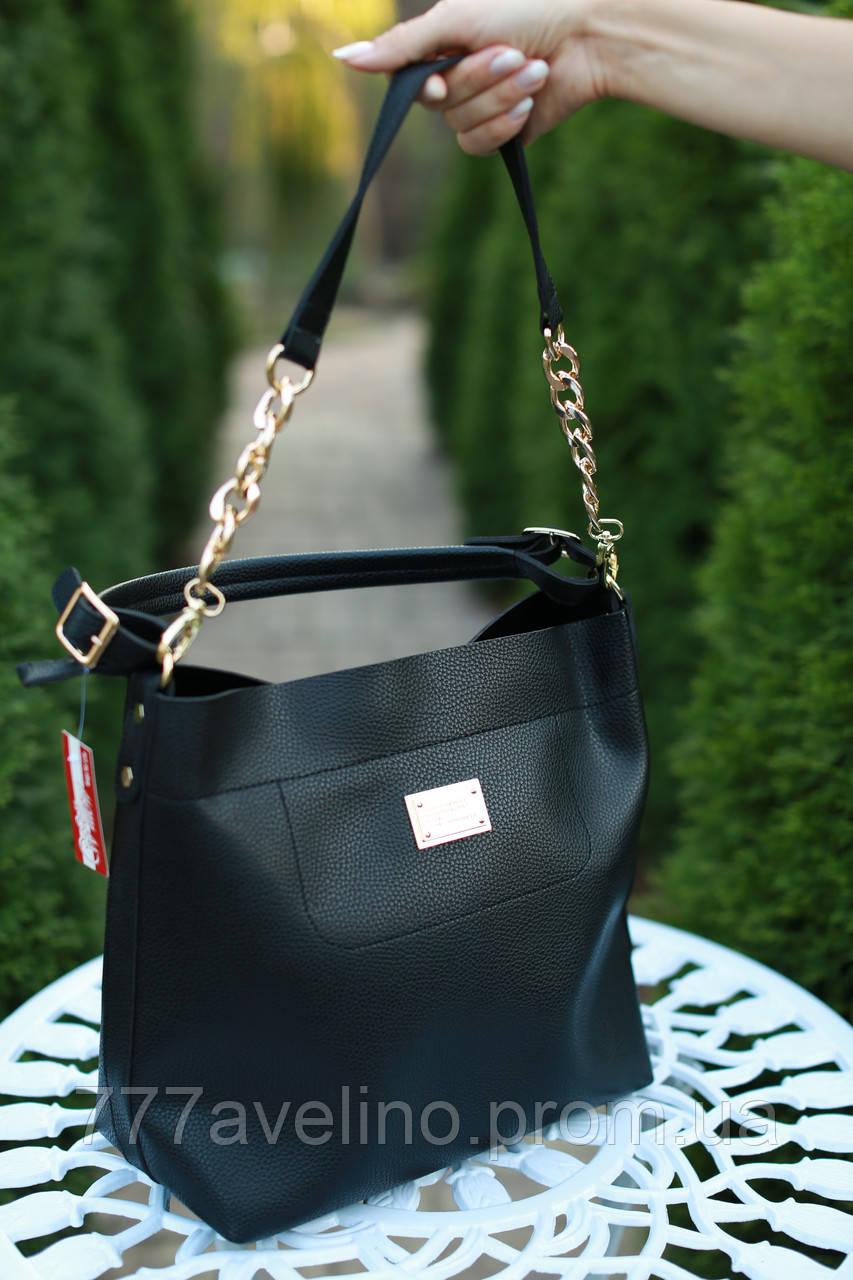 Сумка женская модная черная с цепями