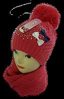 Шапка+шарф для девочек Камни м 7041,3-12 лет, флис