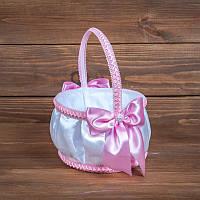 Свадебная корзинка для лепестков с розовыми бантиками  (арт. BP-103)