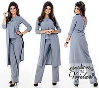 Костюм двойка: блузка-кардиган + брюки. 4 цвета. Р-ры: 42, 44, 46.