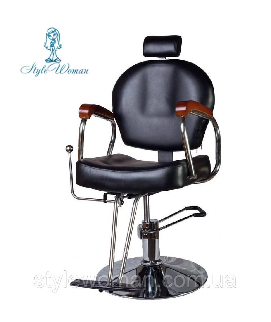 Кресло парикмахерское мастера со спинкой стул кожа черный