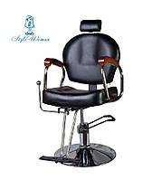 Кресло парикмахерское мастера со спинкой стул кожа черный, фото 1