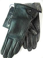 Кожаные женские перчатки на махре оптом
