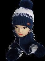 Комплект шапка+шарф для девочки зимний 5-12 лет, разные цвета