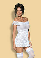Красивая белая сорочка Flores white Obsessive , фото 1