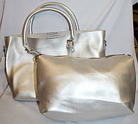 Женская серебристая сумка 2 в 1 35*25 (сумка + клатч)