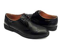Туфли для мальчиков кожаные черные на шнуровке 0024ЕДЖ