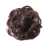 Женская модная резинка из волос, пушистая гулька из искусственных волос, цвет №4 - коричневый, шиньон