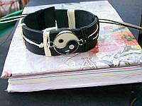 Кожаный рука браслет ИНЬ-ЯНЬ, ручная работа, эмаль.