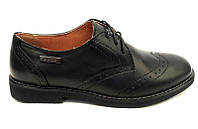 Подростковые туфли для мальчиков кожаные черные на шнуровке eD0024