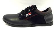 Туфли подростковые Tommy Hilfiger кожа/замша черные TH0008