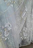 """Белая гардина с узором """"Роза"""" и контурным принтом, метражом, фото 1"""