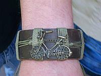 Кожаный браслет ВЕЛОСИПЕД на руку, ручная работа