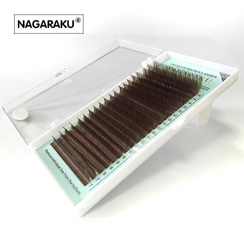 """Коричневые ресницы """"NAGARAKU"""", тёмный шоколад (микс от 7 до 15 мм), фото 1"""
