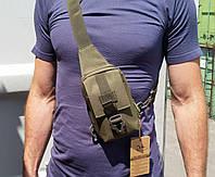 Л-305. Сумочка тактическая однолямочная мини (плечевая). Многофункционал. Расцветки - олива, койот, черный., фото 1
