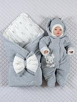 """Осенний набор (конверт и комбинезон, шапка) """"Стиляжки"""" новорожденному серый"""