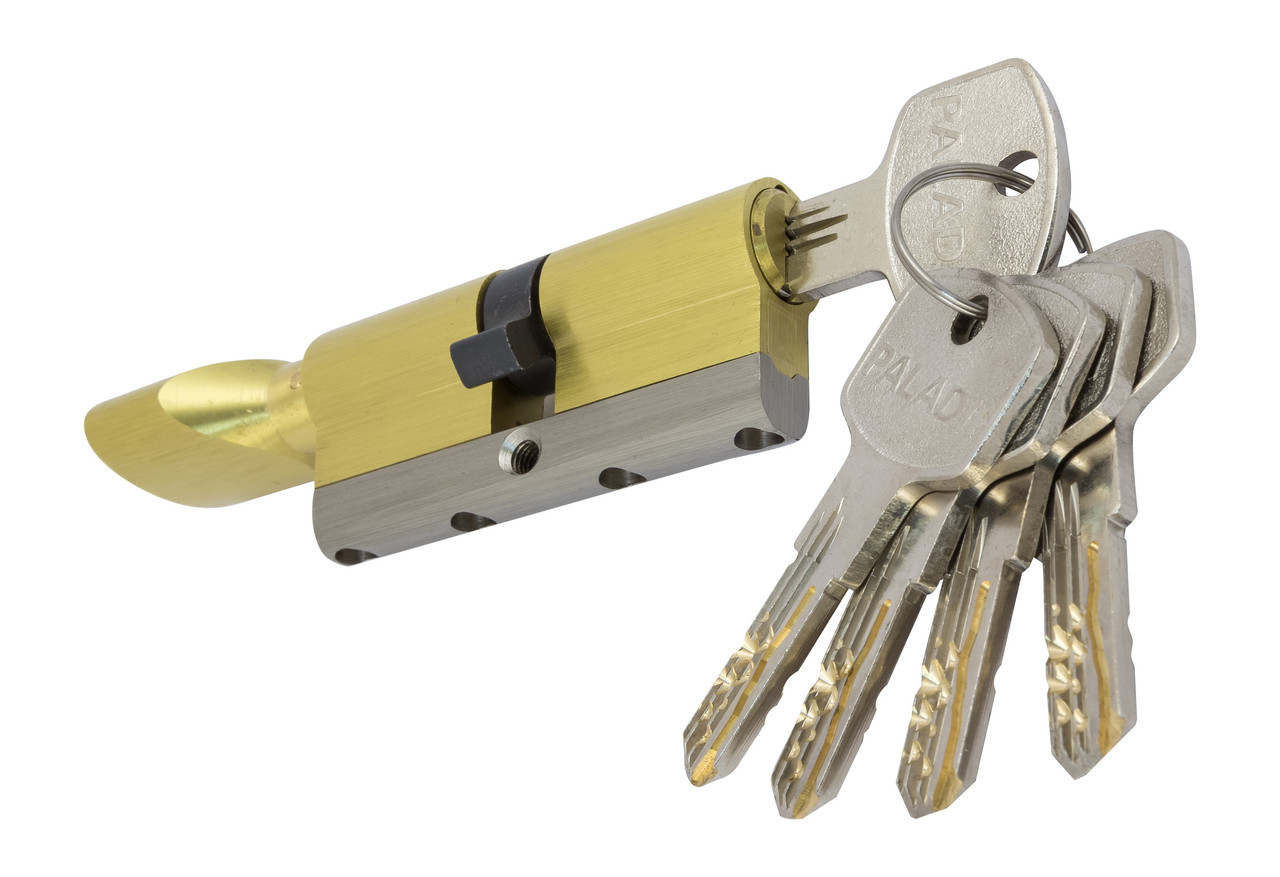 PALADII циліндровий механізм латунний з вставкою 80мм Т (40*40) з вертушком. 5 гібридних ключа жовтий