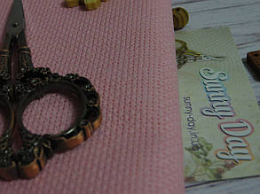 Канва Аида для вышивки 14, розовая 50*50см