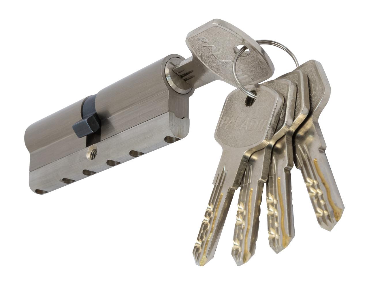 PALADII циліндровий механізм латунний з вставкою 90мм (40*50)  5 гібридних ключа сатен