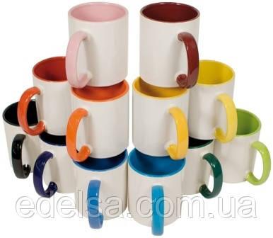 Кружка керамическая с цветной ручкой и серединой