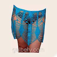 """Вязаная юбочка с принтами""""фигурная сетка"""" ручной работы бирюзового цвета"""