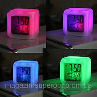 "Часы-будильник ""Хамелеон"" с термометром, меняет цвет"