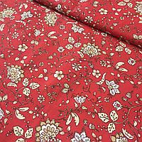 Ткань с бежевыми цветами на красном фоне, фото 1