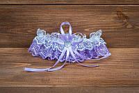 Фиолетовая подвязка для невесты (арт. G-007-1)