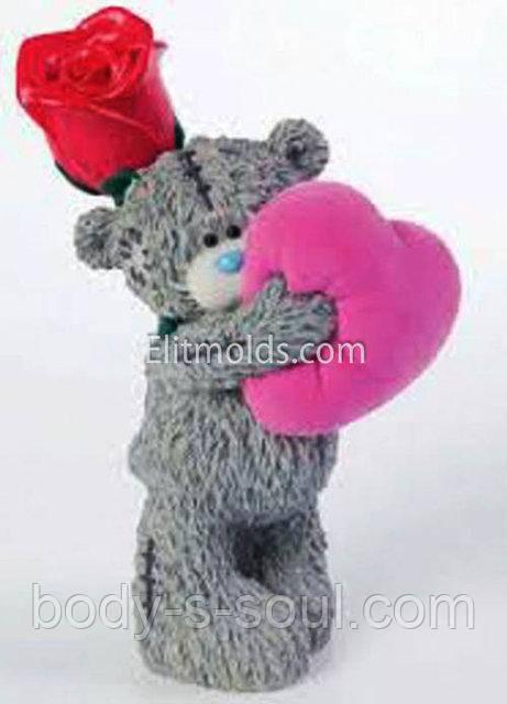 Силиконовая форма Тедди с сердцем и розой №2 3D