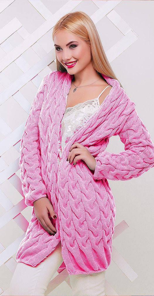 Кардиган вязаный светло розовый