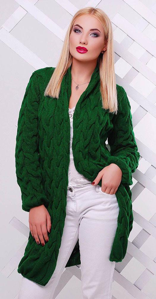 Кардиган вязаный зеленый