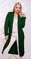 Кардиган удлиненный зеленый