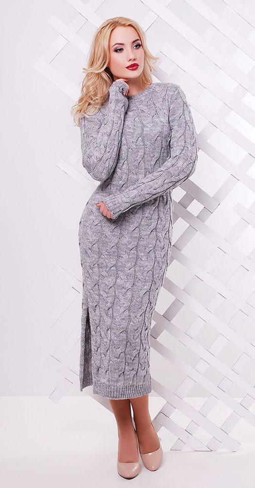 Платье длинное с разрезом светло серое