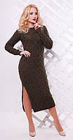 Платье длинное с разрезом коричневое