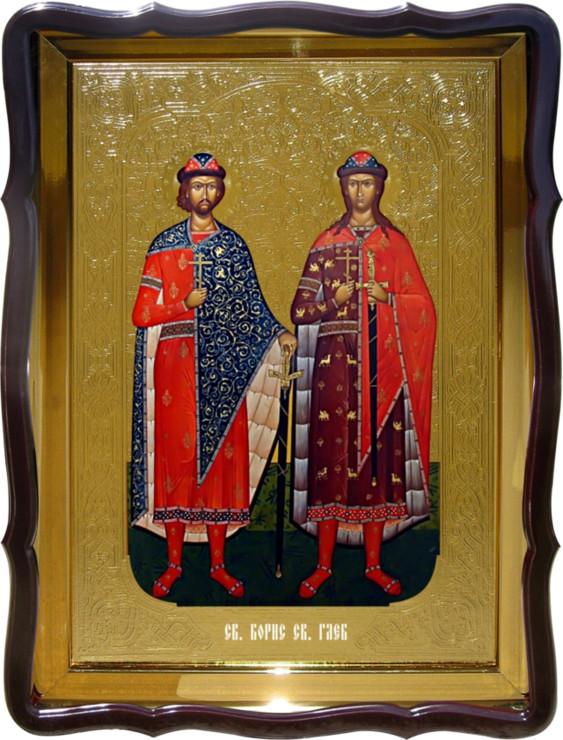 Икона православной церкви - Святой Борис и Глеб (ростовая) в каталоге