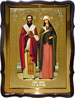 Икона Святой Киприан и Святая Иустина старинные иконы