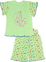 Детская пижама (футболка и шорты)  (Зеленый)
