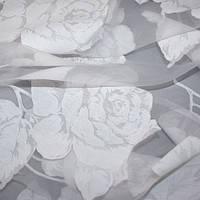 Ткань для тюля органза цветы белый испания
