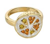 """Кольцо """"Помело"""" с кристаллами Swarovski, покрытое золотом с родием (m319q070) 17"""
