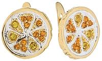 """Серьги """"Помело"""" с кристаллами Swarovski, покрытые золотом с родием (m319q170)"""