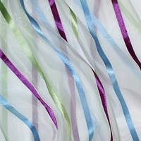 Тюль купить полоса фиолет/голубой/зеленый