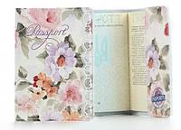Обложка на паспорт Цветы натуральная кожа, женские обложки на паспорт