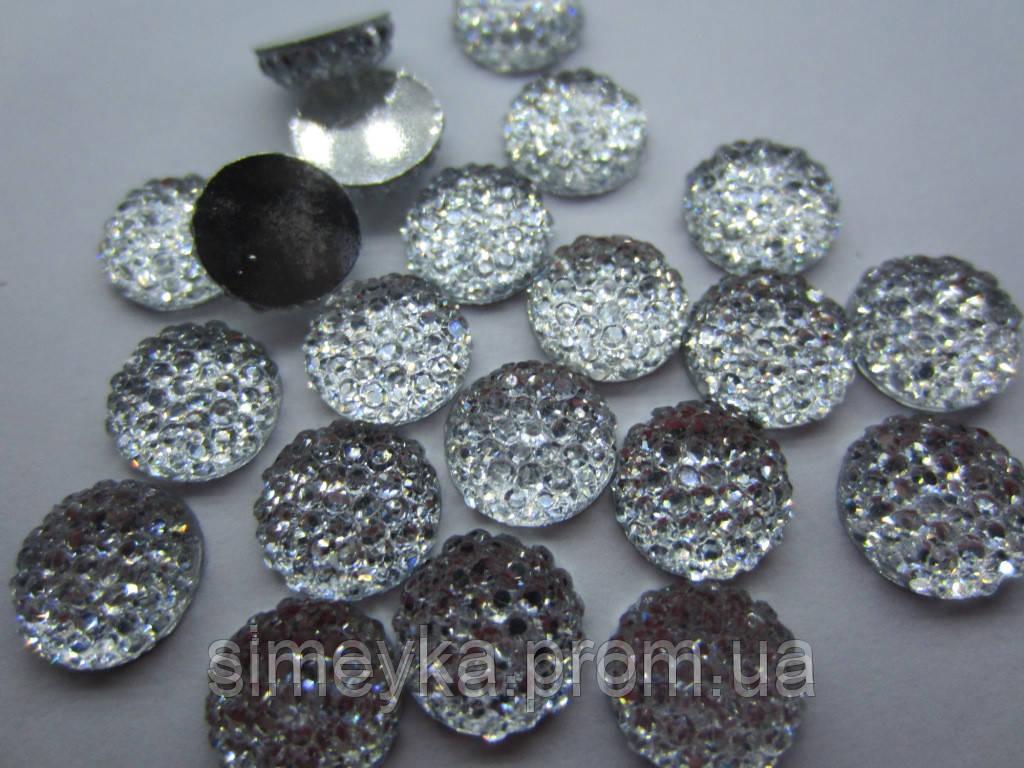 Камень со стразами прозрачный с серебристым дном, диаметр 10 мм