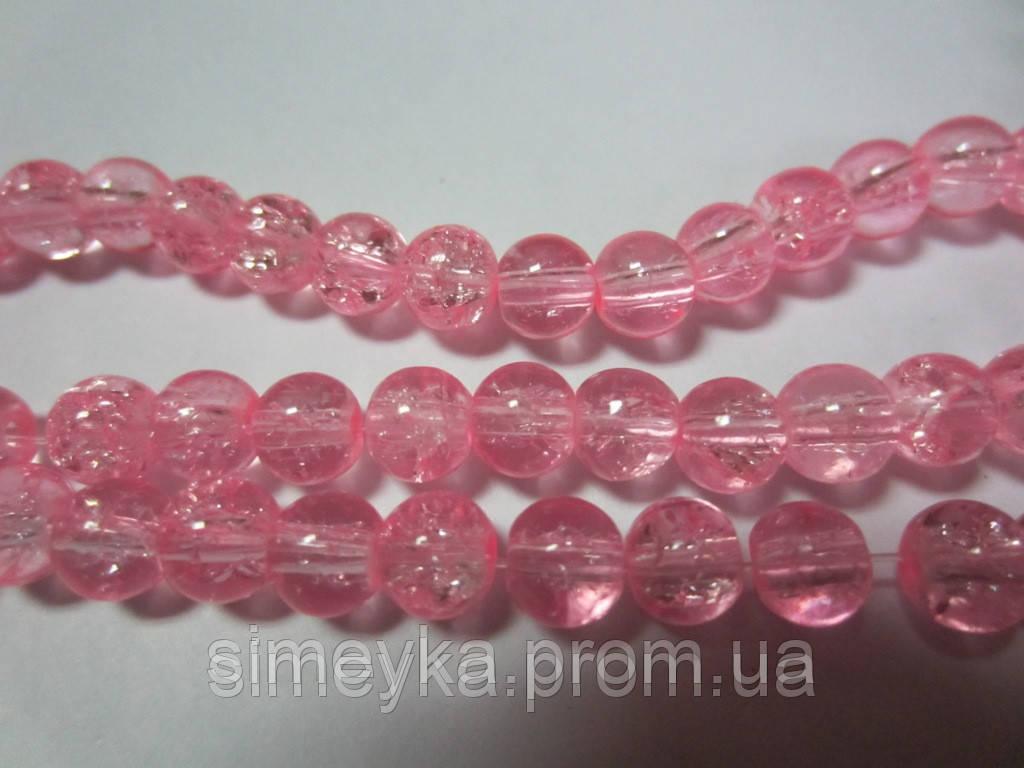 """Бусина стеклянная прозрачная """"битое стекло"""" 6 мм, 20 шт./уп. Розовая"""