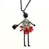 """Кулон с цепочкой """"Девочка в платьице с сумочкой"""" в красном/черном цвете"""