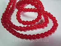 Бусина стекляная красная глянцевая, непрозрачная, 6 мм, 20 шт./уп.