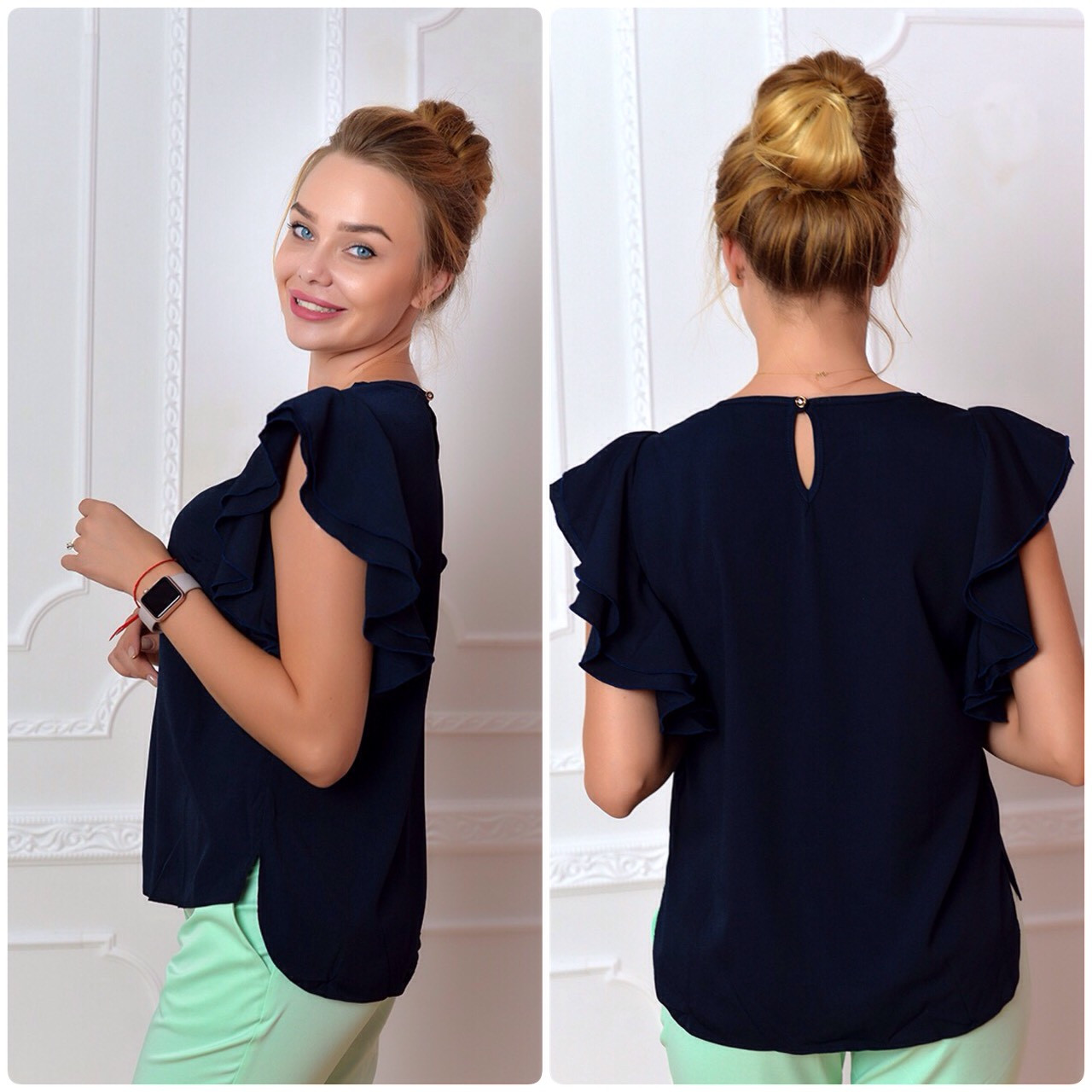 Блузка нарядная, модель 902, темно синий