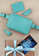 Подарунковий набір шкіряний жіночий бірюзовий (напоясная сумка, гаманець, брелок, листівка) ручна робота